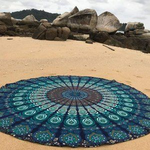 Blue Mandala Round Beach Tapestry Indian Hippie
